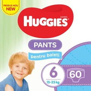 Scutece chilotei HUGGIES nr 6, Baiat, 15 - 25 kg, 60 buc