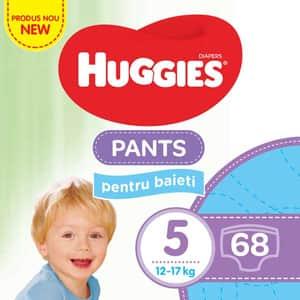 Scutece chilotei HUGGIES nr 5, Baiat, 12 - 17 kg, 68 buc