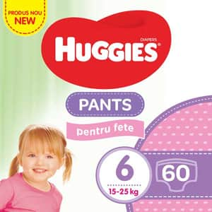 Scutece chilotei HUGGIES nr 6, Fata, 15 - 25 kg, 60 buc