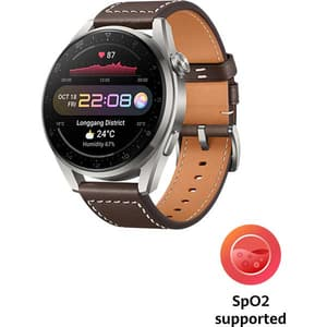 Smartwatch HUAWEI Watch 3 Pro Classic Edition, 4G, Android/iOS, Brown Leather Strap
