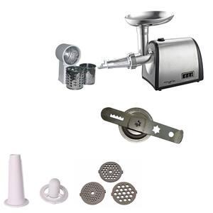 Masina de tocat carne MYRIA MY4070, 0.5kg/min, 1400W, accesoriu carnati/suc de rosii/biscuiti, argintiu
