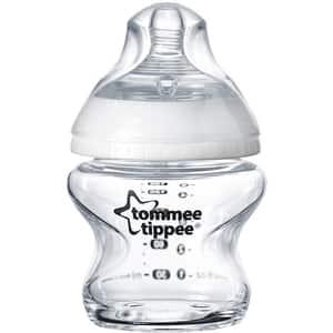Biberon sticla TOMMEE TIPPEE Closer to Nature, flux lent, 0 luni +, 150ml, transparent