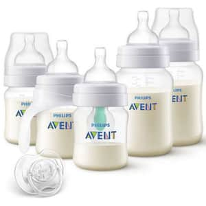 Set anticolici PHILIPS AVENT SCD808/01: 2 biberoane 125ml + 2 biberoane 260ml + cana de tranzitie 125ml + suzeta + dispozitiv anticolici, 0 - 12 luni, transparent