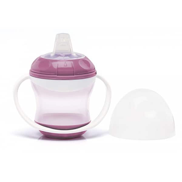 Cana cu capac si manere THERMOBABY THE1658/52, 6 luni+, 180ml, alb-roz