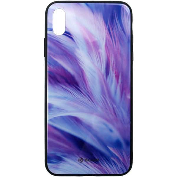 Carcasa pentru Apple iPhone Xs Max, TELLUR Glass print Feather, TLL121335, multicolor