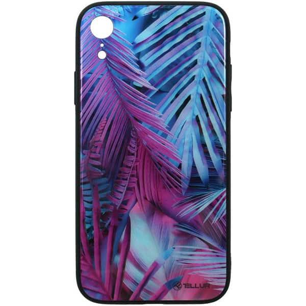 Carcasa pentru Apple iPhone Xr, TELLUR Glass print palm, TLL121425, multicolor