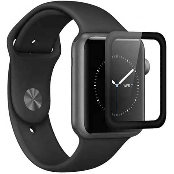 Folie Tempered Glass pentru Apple Watch Series 4 44mm, TELLUR Full Glue, TLL145143, 3D, negru