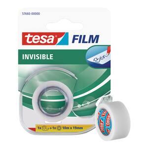 Banda adeziva cu dispenser TESA Film Invisible, 10 m x 19 mm