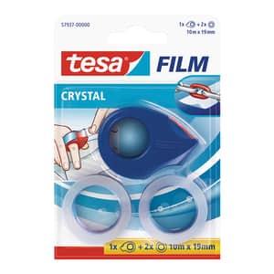 Banda adeziva TESA Crystal, 19 mm x 10 m, 2 role cu un dispenser, transparent