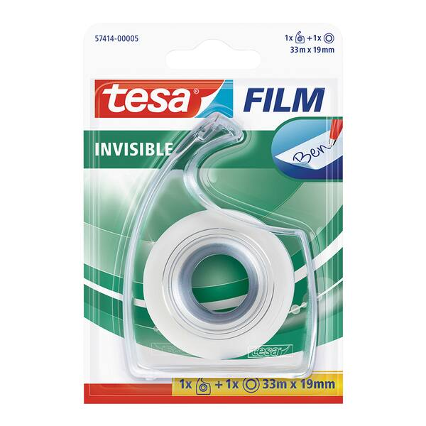 Banda adeziva cu dispenser TESA, 19 mm x 33 m, transparent