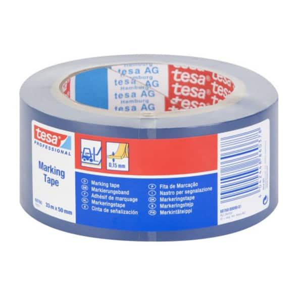 Banda adeziva de marcare TESA, 50 mm x 33 m, albastru