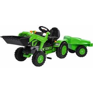 Tractor cu pedale, cupa si remorca BIG Jim Loader, 2 ani+, verde