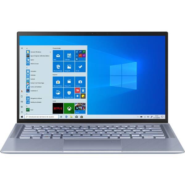 "Laptop ASUS ZenBook 14 UM431DA-AM007R, AMD Ryzen 5-3500U pana la 3.7GHz, 14"" Full HD, 8GB, SSD 512gb, AMD Radeon Vega 8, Windows 10 Pro, Utopia Blue"