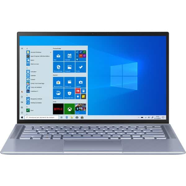 "Laptop ASUS ZenBook 14 UM431DA-AM029R, AMD Ryzen 7-3700U pana la 4GHz, 14"" Full HD, 16GB, SSD 512GB, AMD Radeon RX Vega 10, Windows 10 Pro, Utopia Blue"