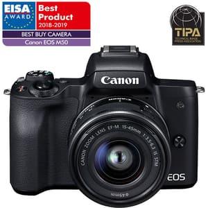 Aparat foto Mirrorless CANON EOS M50, 24.1 MP, Wi-Fi, negru + Obiectiv M15-45mm IS SEE