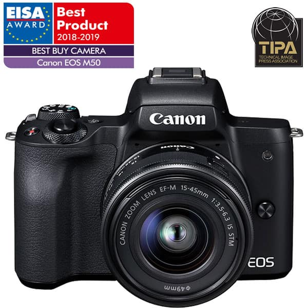 Aparat foto Mirrorless CANON EOS M50, 24.1 MP, Wi-Fi, negru + Obiectiv M15-45mm IS STM