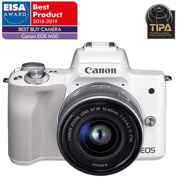 Aparat foto Mirrorless CANON EOS M50, 24.1 MP, Wi-Fi, alb + Obiectiv M15-45mm IS SEE