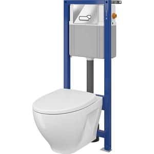 Set vas WC CERSANIT B41 AQUA 22, montaj incastrat, evacuare spate, cu capac, alb