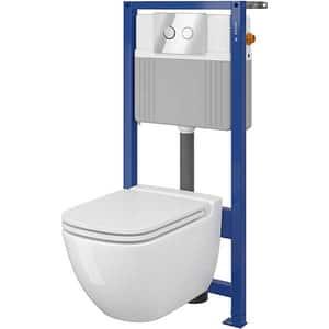 Set vas toaleta CERSANIT B54 SYSTEM 51, montaj incastrat, evacuare spate, cu capac, alb
