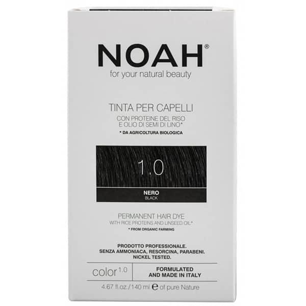 Vopsea de par naturala fara amoniac NOAH, 1.0 Brunet, 140ml