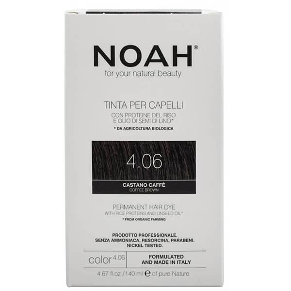Vopsea de par naturala cu amoniac NOAH, 4.06 Saten cafeniu, 140ml