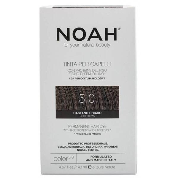Vopsea de par naturala fara amonic NOAH, 5.0 Saten deschis, 140ml