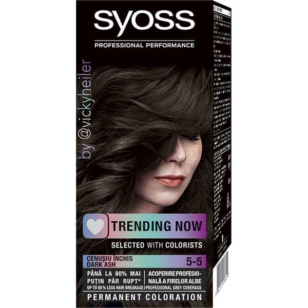 Vopsea de par SYOSS Color Base Line, 5-5 Cenusiu inchis, 115ml