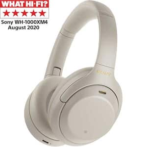 Casti SONY WH1000XM4, Bluetooth, NFC, Over-Ear, Microfon, Noise Cancelling, argintiu