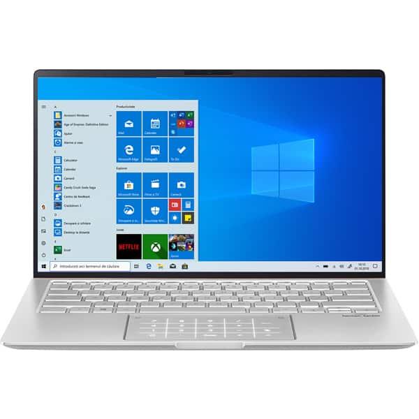 "Laptop ASUS ZenBook 14 UM433DA-A5017T, AMD Ryzen 5-3500U pana la 3.7GHz, 14"" Full HD, 8GB, SSD 1TB, AMD Radeon Vega 8 Graphics, Windows 10 Home, Icicle Silver"