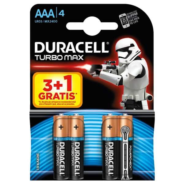 Baterii DURACELL Turbo Max Star Wars AAA, 3+1 bucati