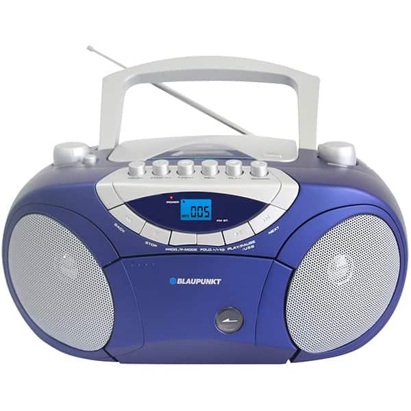 Radio CD portabil BLAUPUNKT Boombox BB15BL, FM/AM, USB, Caseta, albastru