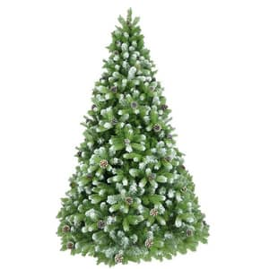 Brad artificial cu varfuri ninse si conuri BRAZIDELUX Premium, 180 cm, verde-alb