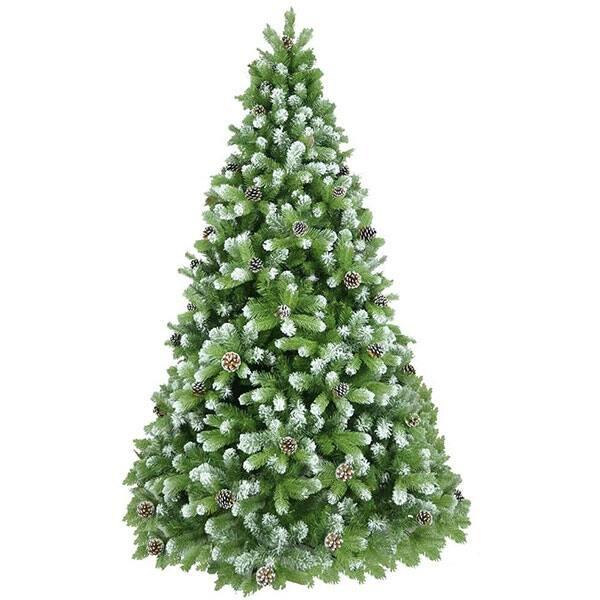 Brad artificial cu varfuri ninse si conuri BRAZIDELUX Premium, 300 cm, verde-alb
