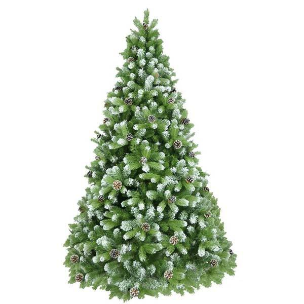 Brad artificial cu varfuri ninse si conuri BRAZIDELUX Premium, 210 cm, verde-alb