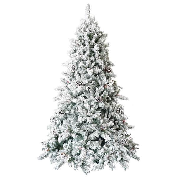 Brad artificial cu zapada si conuri BRAZIDELUX, 210 cm, alb