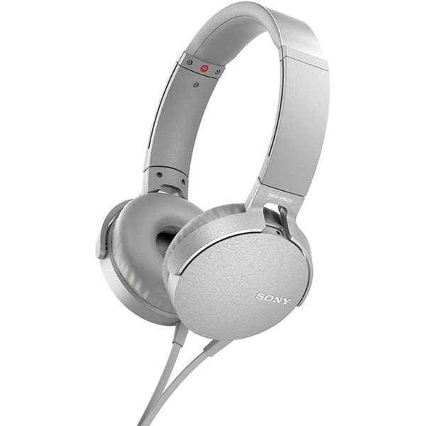 Casti SONY MDR-XB550APW, Cu Fir, On-Ear, Microfon, alb