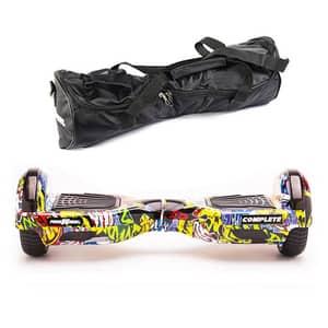 Hoverboard FREEWHEEL Complete, 6.5 inch, viteza 15 km/h, motor 2 x 350W, graffiti galben + geanta transport cadou