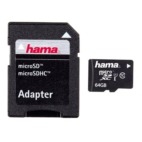 Card de memorie HAMA 108077 microSDHC, 64GB, Clasa 10, 22MBs, adaptor