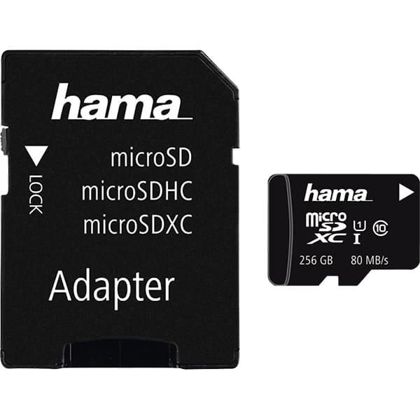 Card de memorie HAMA 124171 microSDXC, 256GB, clasa 10 UHS-I, 80MBs, adaptor SD