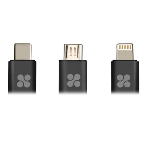 Cablu date PROMATE uniLink-Trio, microUSB/Type C/Lightning, 1.2m, Gray