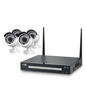 Kit supraveghere video wireless HOMEGUARD HGNVK48804, 4 camere 960p, NVR 4 canale, alb-negru