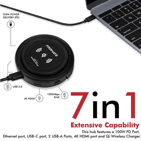 Hub USB Type-C PROMATE CenterHub, USB 3.0, HDMI, Ethernet, Qi Wireless Charger, negru