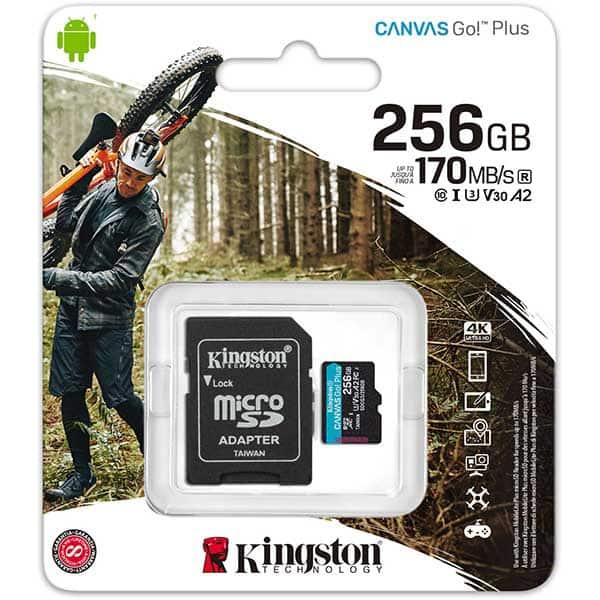Card de memorie KINGSTON Canvas Go! Plus microSDHC 256GB, Clasa 10 UHS-I, U3, V30, A2, 170MBs, adaptor