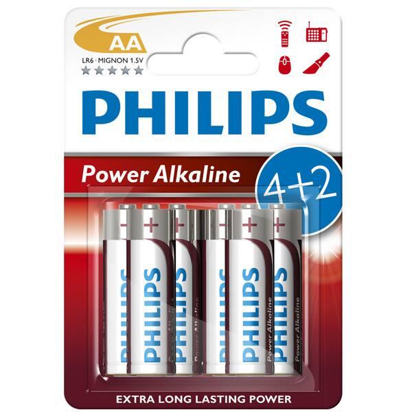 Baterii alcaline AA PHILIPS LR6P6BP/10, 4+2 bucati