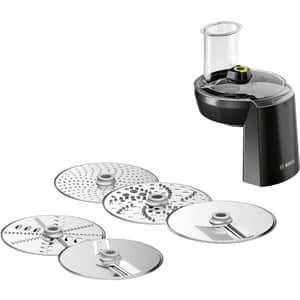 Set accesorii feliere si razuire BOSCH OptiMum VeggieLove MUZ9VL1, 5 discuri, argintiu-negru