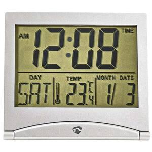 Ceas desteptator digital NEDIS CLDK002SR, Afisaj LCD, pliabil, argintiu