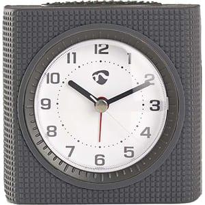 Ceas desteptator analogic de birou NEDIS CLDK004GY, 12 cifre, fundal alb, gri