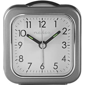 Ceas desteptator analogic de birou NEDIS CLDK005GY, 12 cifre, fundal alb iluminat, gri