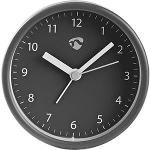 Ceas desteptator analogic de birou NEDIS CLDK006GY, 12 cifre, fundal gri, gri inchis