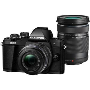 Aparat foto Mirrorless OLYMPUS E-M10 MARK II Double Zoom, 16 MP, Wi-Fi, negru + Obiectiv 14-42mm + Obiectiv 40-150mm